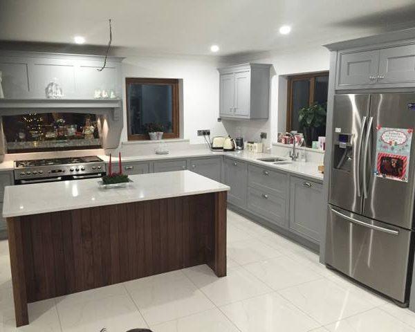 In-frame kitchen with walnut island