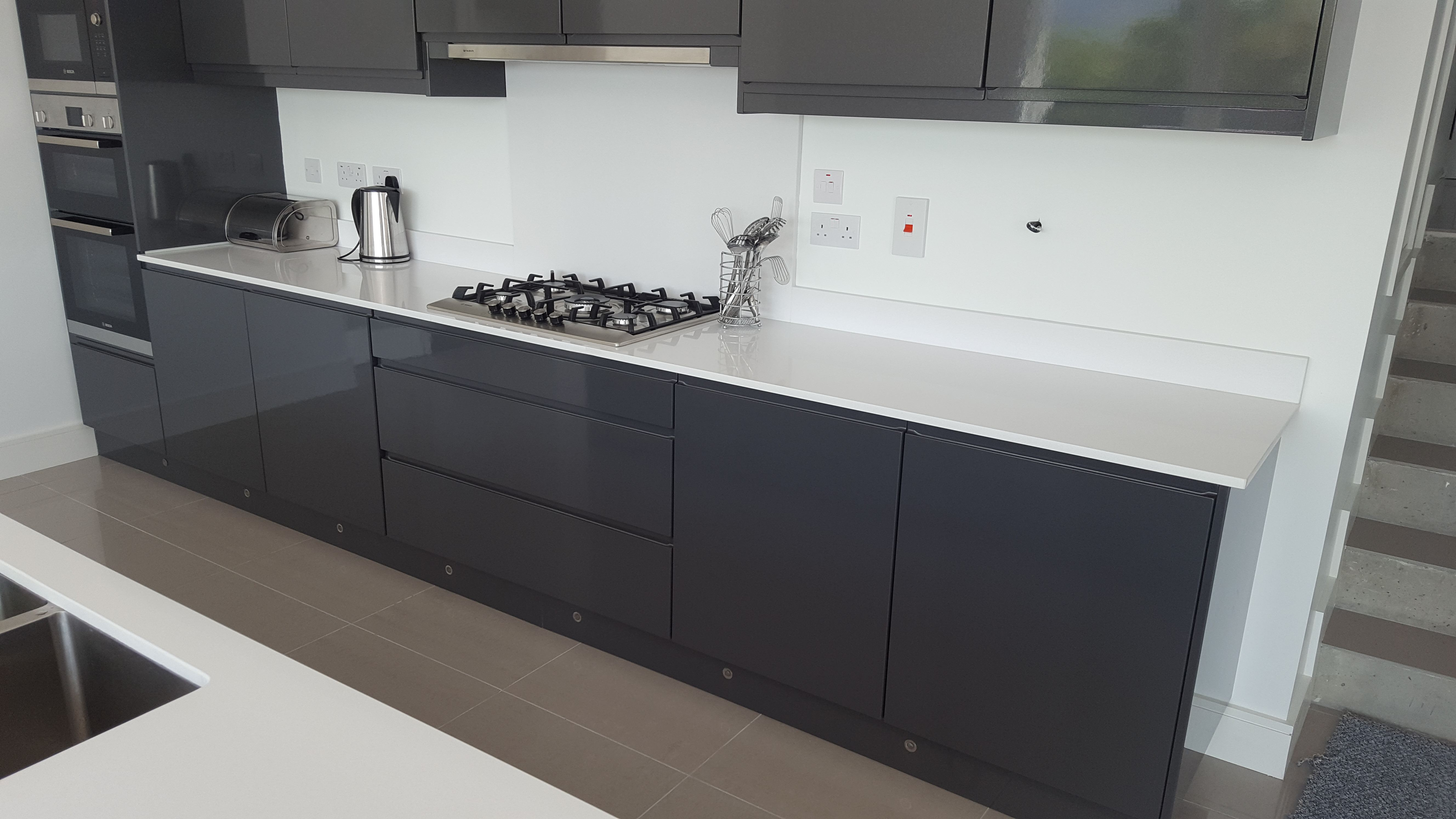 High Gloss Anthracite Handless Kitchen Karl Cullen Fitted Furniture Wexford