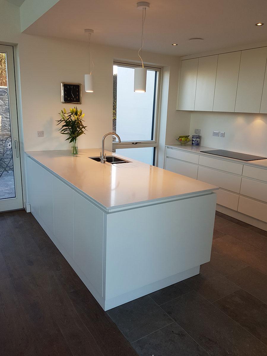 Silestone Worktops Handless Kitchen - Karl Cullen Fitted